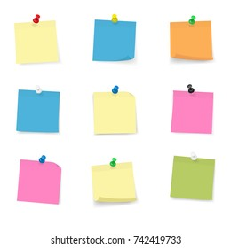 Adhesive Notes with push pin collection, multi colored vector illustration, isolated on White Cut out