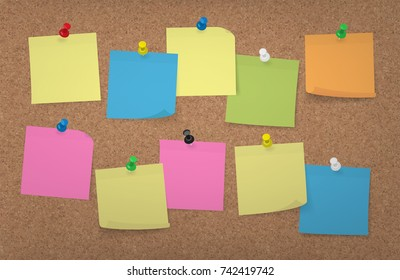 Adhesive Notes with push pins on a large Cork Board Background, multi colored vector illustration