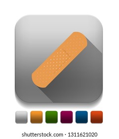 adhesive plaster icon With long shadow over app button