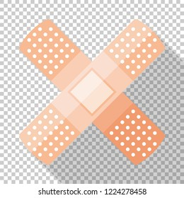 Adhesive plaster or sticking-plaster icon in flat style with long shadow on transparent background