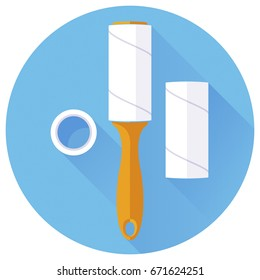 Adhesive roller for cleaning clothes and getting rid of dandruff, hair, debris, dust, pet wool and fluff. Replaceable sticky paper blocks for a lint roller. Vector flat icon in a blue round frame.