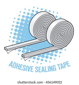 Adhesive sealing tape for windows and doors in a roll. Vector illustration.