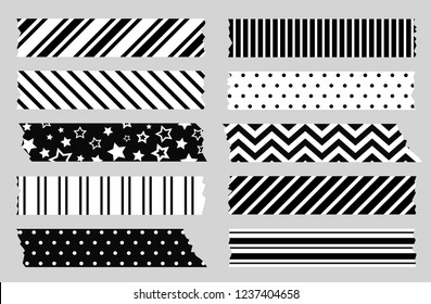 Adhesive tape with black and white geometric patterns. Scotch, washi tape template
