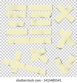 Adhesive tape pieces set, isolated on transparent background.