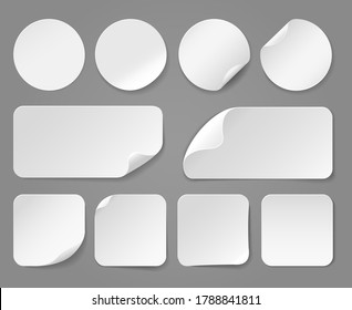 Adhesive white paper stickers realistic. Price label mockups, templates of empty tag, vector illustration of blank sheets shape with curved edge isolated on white background
