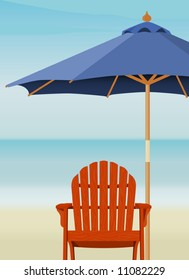 Adirondack Chair and Market Umbrella at beach; Chair and Umbrella are complete. Easy-edit layered file.