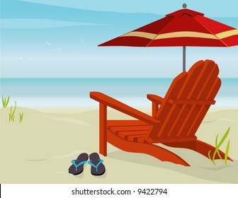 Adirondack Chair and Market Umbrella at beach; Easy-edit layered file.