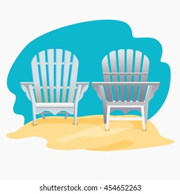 Adirondack chair standing on the yellow sand under the blue sky, Vector flat illustration