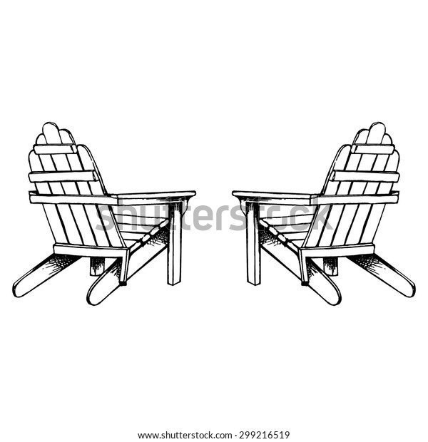 Adirondack Chairs Hand Sketch Stock Vector (Royalty Free ...