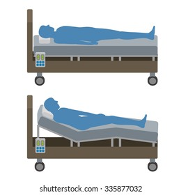 Adjustable Bed and human silhouette, vector illustration