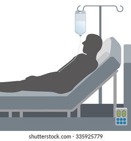 Adjustable bed and intravenous drip, vector illustration