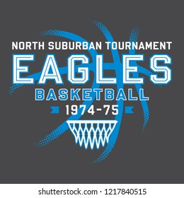 Adjustable Eagles Basketball T-Shirt Design