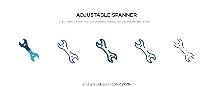 adjustable spanner icon in different style vector illustration. two colored and black adjustable spanner vector icons designed in filled, outline, line and stroke style can be used for web, mobile,