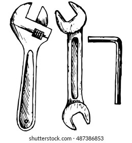 Adjustable wrench, spanner. Vector illustration, doodle style