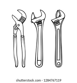 Adjustable wrench.  Water pump pliers hand drawn illustrations set. Adjustable wrench sketch drawing.