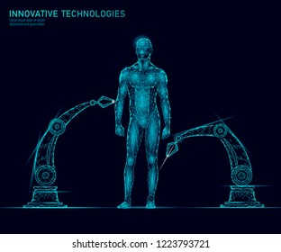 Adjustment human body anatomy. DNA engineering science innovation superman technology. Genome health research cloning medicine low poly 3D render polygonal virtual reality vector illustration