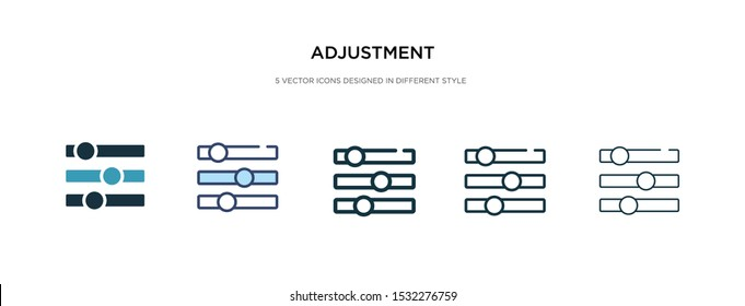 adjustment icon in different style vector illustration. two colored and black adjustment vector icons designed in filled, outline, line and stroke style can be used for web, mobile, ui