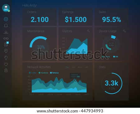 Admin App Dashboard Stock Vector (Royalty Free) 447934993