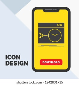 Admin, command, root, software, terminal Glyph Icon in Mobile for Download Page. Yellow Background