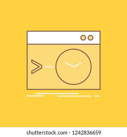 Admin, command, root, software, terminal Flat Line Filled Icon. Beautiful Logo button over yellow background for UI and UX, website or mobile application