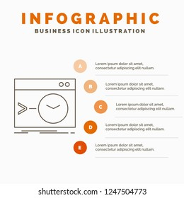 Admin, command, root, software, terminal Infographics Template for Website and Presentation. Line Gray icon with Orange infographic style vector illustration