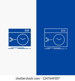 Admin, command, root, software, terminal Line and Glyph web Button in Blue color Vertical Banner for UI and UX, website or mobile application