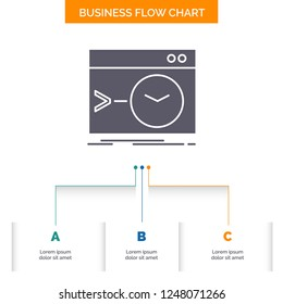 Admin, command, root, software, terminal Business Flow Chart Design with 3 Steps. Glyph Icon For Presentation Background Template Place for text.