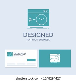 Admin, command, root, software, terminal Business Logo Glyph Icon Symbol for your business. Turquoise Business Cards with Brand logo template.