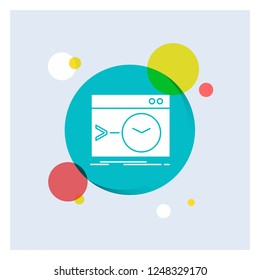 Admin, command, root, software, terminal White Glyph Icon colorful Circle Background