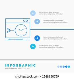 Admin, command, root, software, terminal Infographics Template for Website and Presentation. Line Blue icon infographic style vector illustration