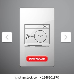 Admin, command, root, software, terminal Line Icon in Carousal Pagination Slider Design and Red Download Button