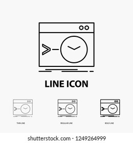 Admin, command, root, software, terminal Icon in Thin, Regular and Bold Line Style. Vector illustration
