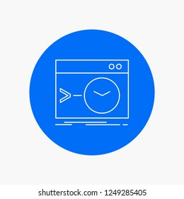 Admin, command, root, software, terminal White Line Icon in Circle background. vector icon illustration