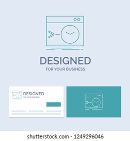 Admin, command, root, software, terminal Business Logo Line Icon Symbol for your business. Turquoise Business Cards with Brand logo template
