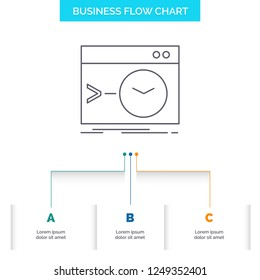 Admin, command, root, software, terminal Business Flow Chart Design with 3 Steps. Line Icon For Presentation Background Template Place for text
