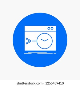 Admin, command, root, software, terminal White Glyph Icon in Circle. Vector Button illustration