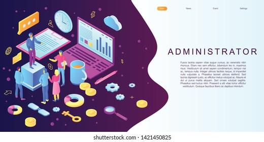 Admin concept banner. Isometric illustration of admin vector concept banner for web design