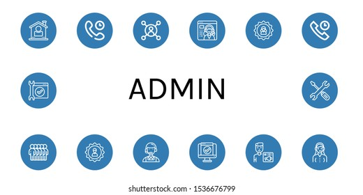 admin icon set. Collection of User, Technical Support, Service, Users, Customer service, News admin icons