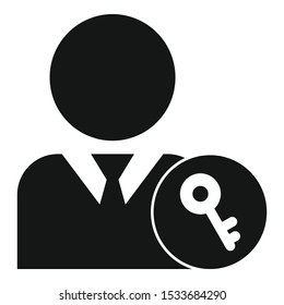 Admin key icon. Simple illustration of admin key vector icon for web design isolated on white background