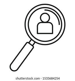 Admin magnify glass icon. Outline admin magnify glass vector icon for web design isolated on white background