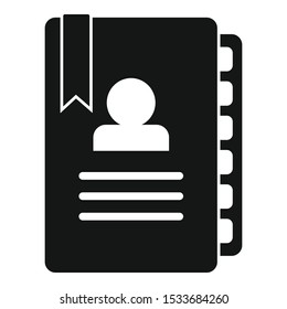 Admin notebook icon. Simple illustration of admin notebook vector icon for web design isolated on white background