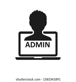 Admin sign on laptop icon – stock vector