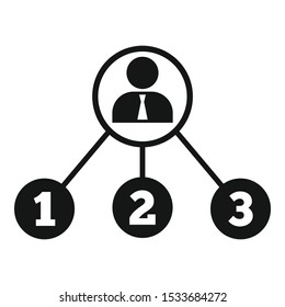 Admin work scheme icon. Simple illustration of admin work scheme vector icon for web design isolated on white background