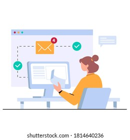 An admin is working at a computer, receiving email messages, project manager. Concept vector illustration