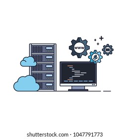 Administration of Server and Cloud Hosting Service. Vector Illustration in Flat Outline Style.