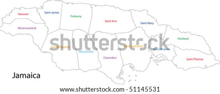 Administrative Divisions Jamaica Stock Vector (Royalty Free ...