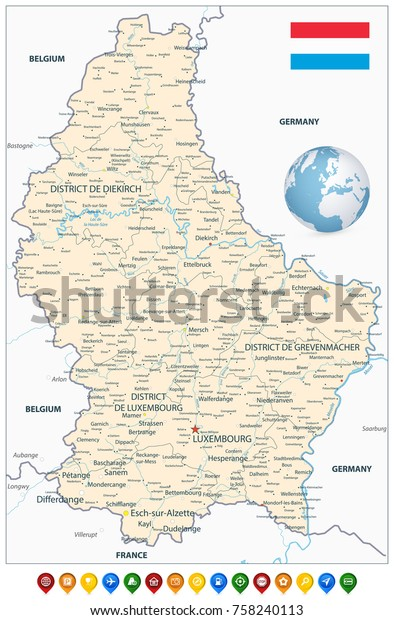 Administrative Divisions Map Luxembourg Colorful Map Stock Vector ...