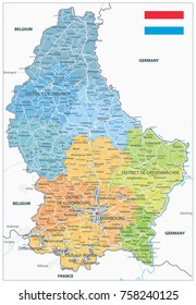 Administrative divisions map of Luxembourg. Highly detailed vector illustration.