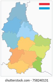 Administrative divisions map of Luxembourg. No text. Highly detailed vector illustration.