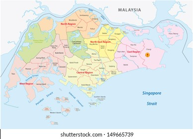 Singapore map images stock photos vectors shutterstock administrative divisions of singapore gumiabroncs Images